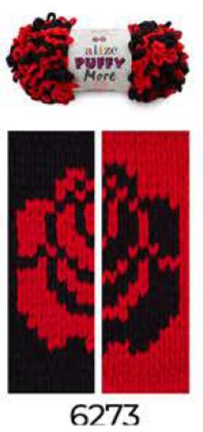 Купить Пряжа Пуффи Море цвет 6273 черный-красный | Интернет-магазин пряжи «Пряха»