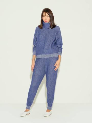 Женские брюки темно-синего цвета из мохера и кашемира - фото 2