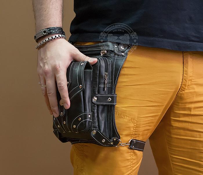 BAG373-1 Мужская сумка на бедро из натуральной кожи, ручная работа фото 03
