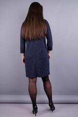 Берта. Сукня великих розмірів для жінок. Графіт синій.
