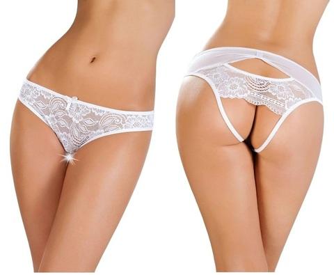 Трусы эротические с открытой интимной зоной (белые)