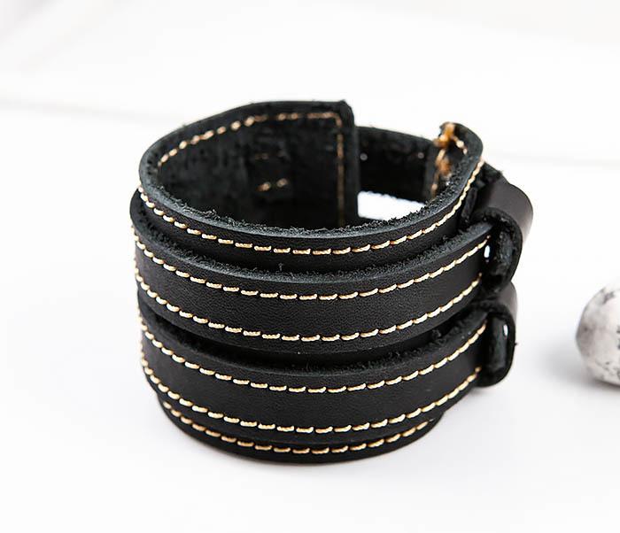 BL391-3 Широкий черный браслет ручной работы из натуральной кожи. «Boroda Design» фото 04