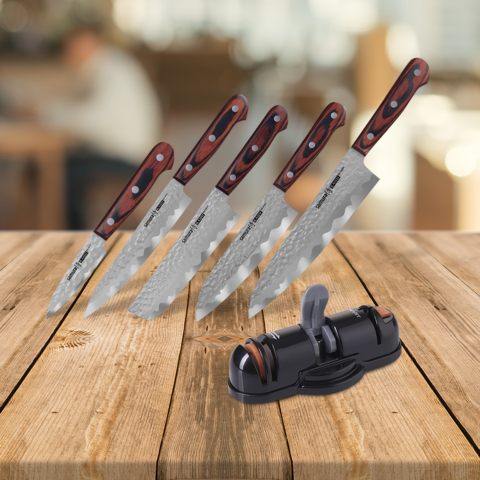 Набор из 5 ножей Samura KAIJU и точилки KSS-3000