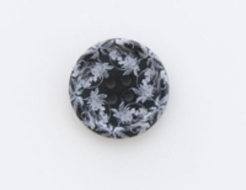 Пуговица пластиковая, круглая, чёрная с серыми узорами, 4 отверстия, 23 мм