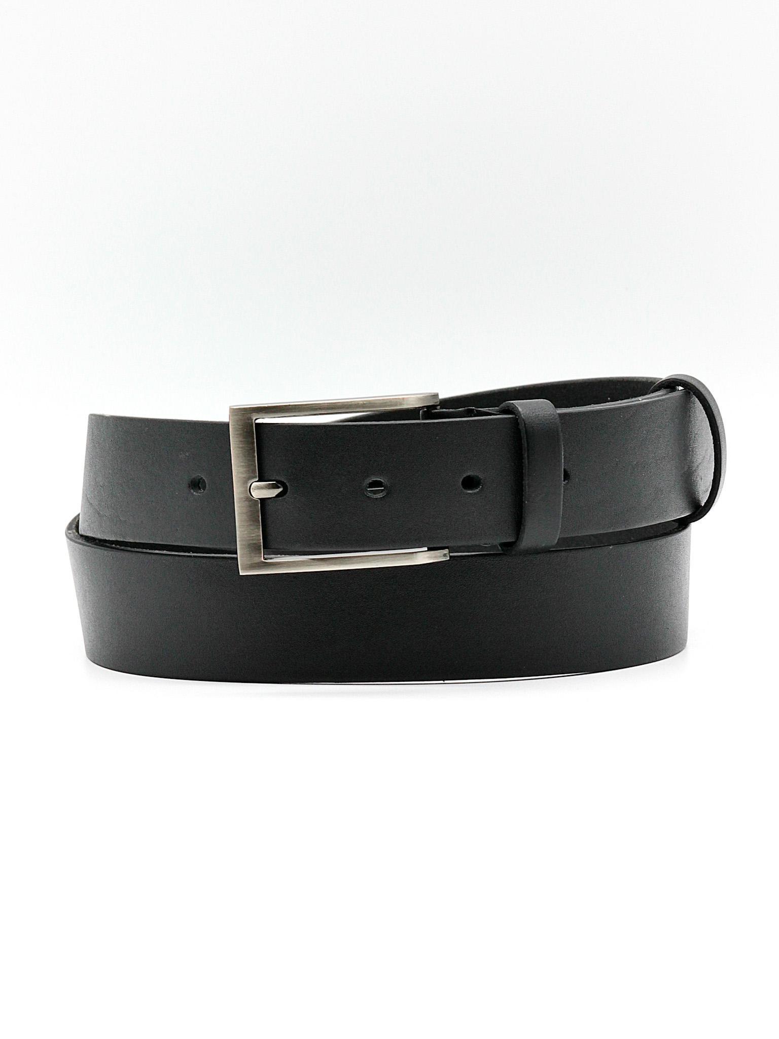 Мужской чёрный брючный ремень из натуральной кожи Doublecity RC33-01-01