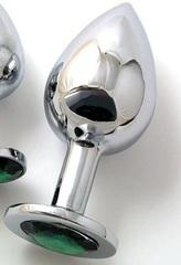 Анальная пробка BUTT PLUG Large с изумрудным кристаллом - 9,5 см.