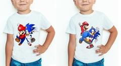 Супер Марио и Соник футболка детская