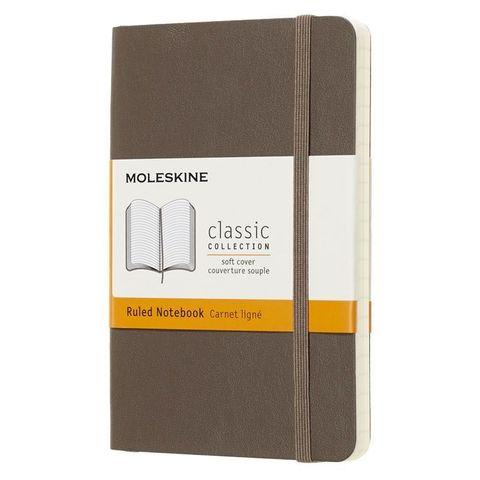 Блокнот Moleskine CLASSIC SOFT QP611P14 Pocket 90x140мм 192стр. линейка мягкая обложка коричневый