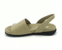Кожаные сандалии оливкового цвета на плоской подошве