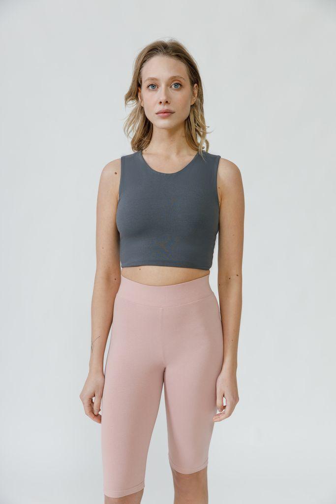 Удлиненный топ для йоги темно-серый