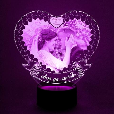 Свадебный фото-светильник в сердце