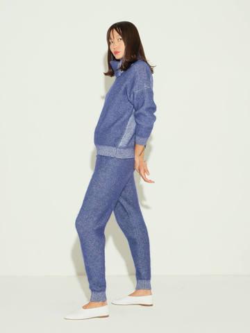 Женские брюки темно-синего цвета из мохера и кашемира - фото 4