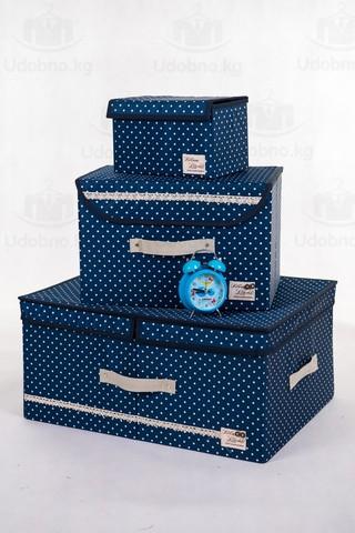 Большой складной кофр для одежды, 54*42*28 см (темно-синий в горошек)