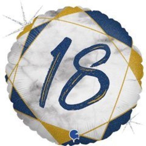 Г Круг 18 Цифра, Мрамор Синий, Голография, 18