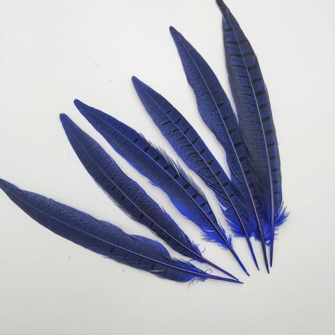 Перо фазана ,  длина 20-25 см. синий