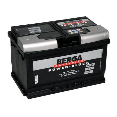 Аккумулятор BERGA Power-Block 72Ah 680A R+