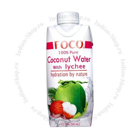 Кокосовая вода с соком личи FOCO   330мл.