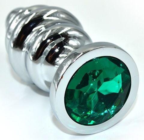Серебристая анальная пробка из нержавеющей стали с зеленым кристаллом - 8,8 см.