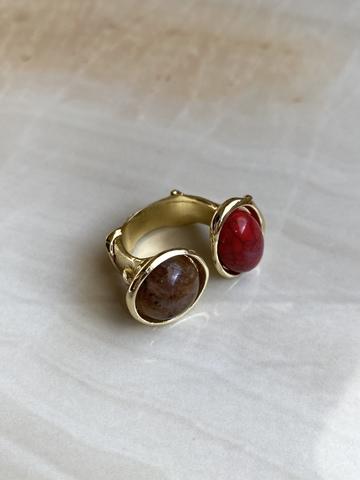 Кольцо Матисс, красный и кофейный камни