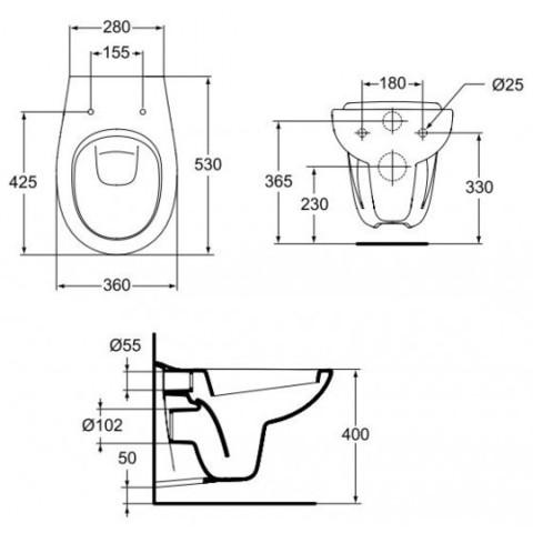 Унитаз подвесной с сиденьем Ideal Standard Ocean W707301 схема