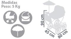DeCuevas Коляска с сумкой и зонтиком серии Мартина, 90см (80226)