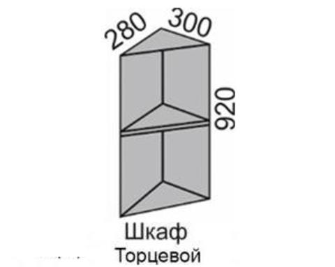 Шкаф МАДЕНА торцевой с полкой  ВШТП-30