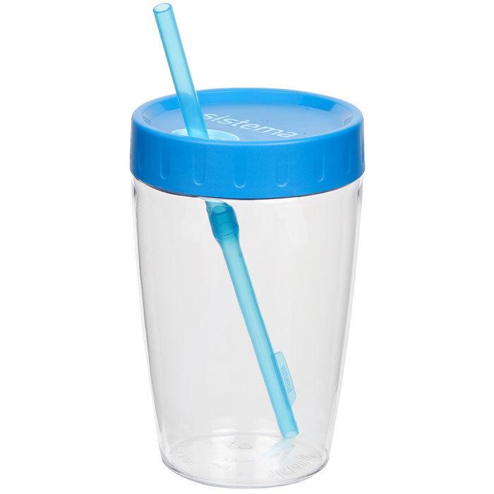 """Стакан с трубочкой Sistema """"Hydrate"""", Тритан, 525  мл, цвет Голубой"""