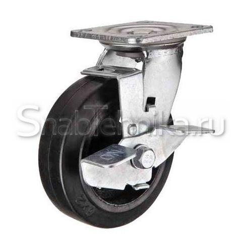 Большегрузная поворотная колесная опора c тормозом SCdb 125 литая черная резина