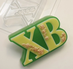 Пластиковая форма для шоколада пас. ХВ С РОЗОЧКАМИ 55х90мм