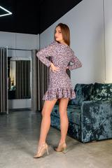 Короткое шифоновое платье с длинным рукавом купить
