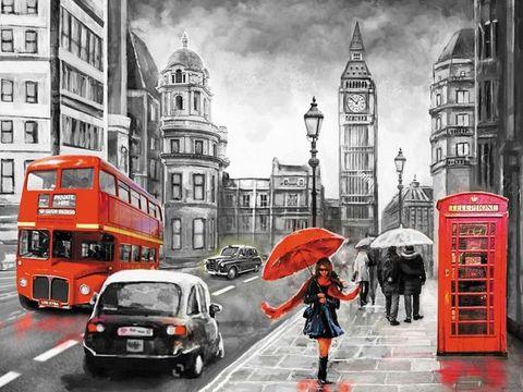 Алмазная Мозаика 40x50 Черно-белый город с красными акцентами (арт. HWA2417 )