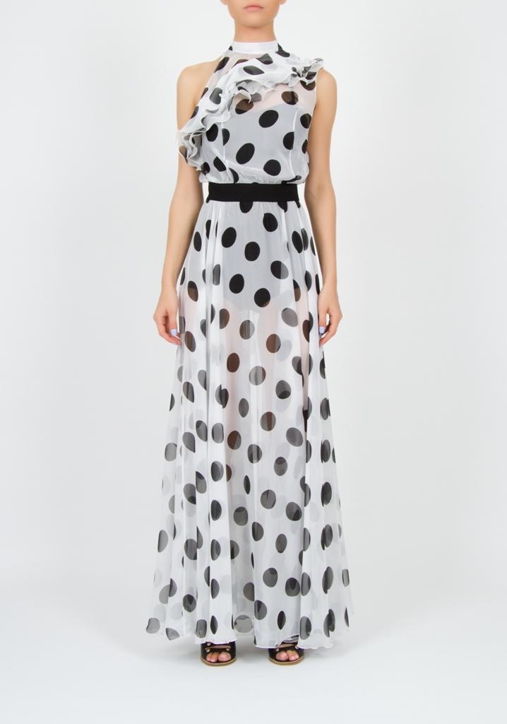 Платье в горох с воланом