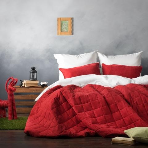 Комплект штор и покрывало Ламанш красно-белый