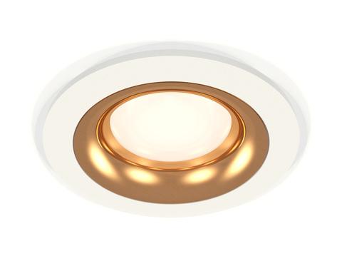 Комплект встраиваемого светильника XC7621005 SWH/PYG белый песок/золото желтое полированное MR16 GU5.3 (C7621, N7014)