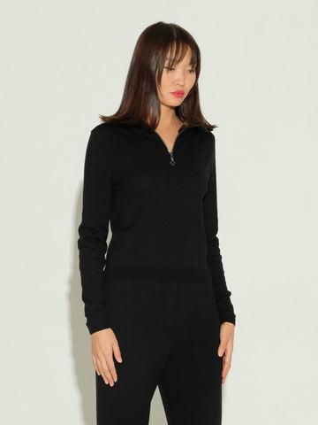 Женский джемпер черного цвета из шерсти и шелка - фото 2