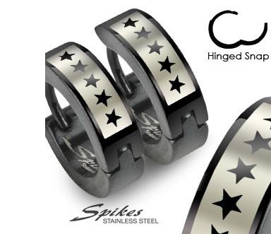 SSE-013 Мужские серьги черного цвета со звездами, ювелирная сталь, «Spikes»