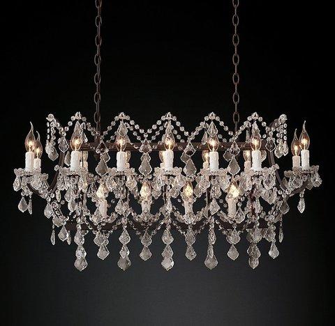 Подвесной светильник копия 19th C. Rococo Iron & Clear Crystal Rectangular Chandelier 39