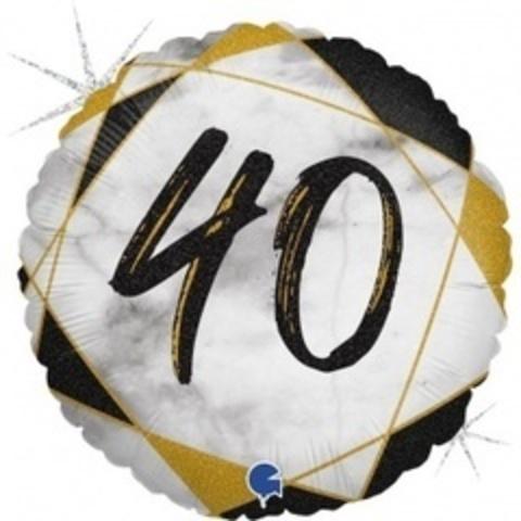 Г Круг 40 Цифра, Мрамор Черный, Голография, 18