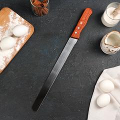Нож для бисквита,35см (лезвие) с узкими зубчиками,дер.ручка