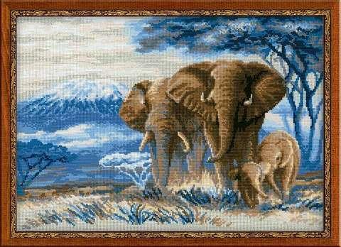 Набор для вышивания крестом «Слоны в саванне» (1144)