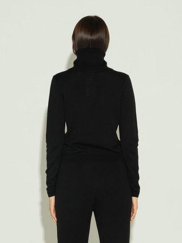 Женский джемпер черного цвета из шерсти и шелка - фото 4