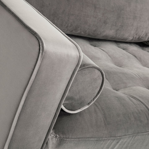 Диван Bogart 3х местный серый бархат