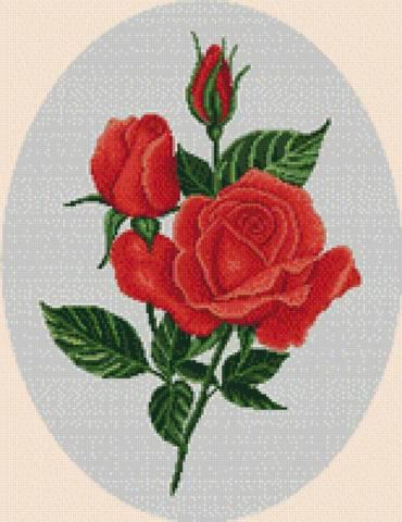 Трио алых роз
