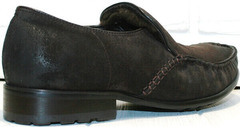Зимние мужские туфли мокасины с каблуком Welfare 555841 Dark Brown Nubuk & Fur