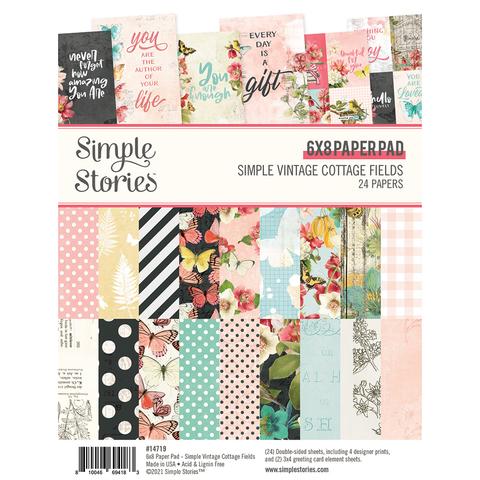 Набор двухсторонней бумаги Simple Stories - SIMPLE VINTAGE COTTAGE FIELDS - 15х20,5 - 24 л.