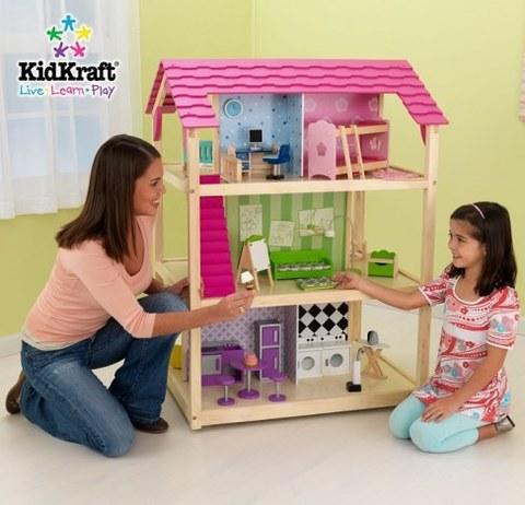 Кукольный домик для Барби KidKraft Самый роскошный с мебелью 45 элементов на колесиках 65078_KE