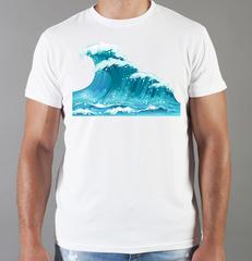 Футболка с принтом Море, Океан, волны (Sea, ocean, waves) белая 001