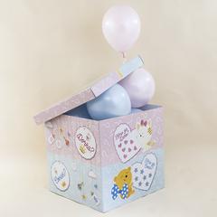 Коробка для шаров, Гендер пати (Голубой/розовый) 60*60*60 см, 1 шт.