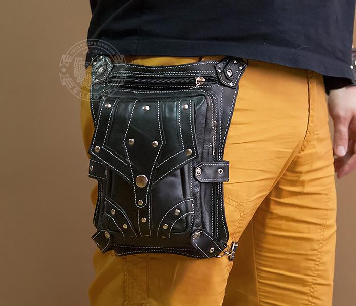 BAG373-1 Мужская сумка на бедро из натуральной кожи, ручная работа фото 04