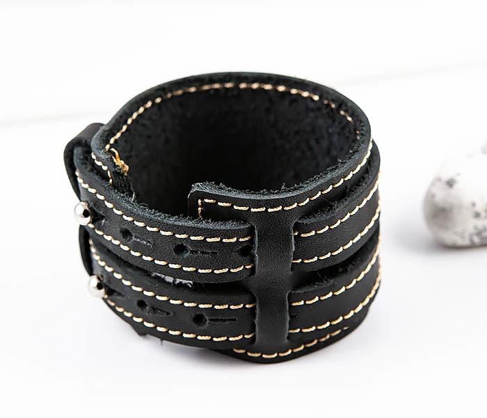 BL391-3 Широкий черный браслет ручной работы из натуральной кожи. «Boroda Design» фото 05